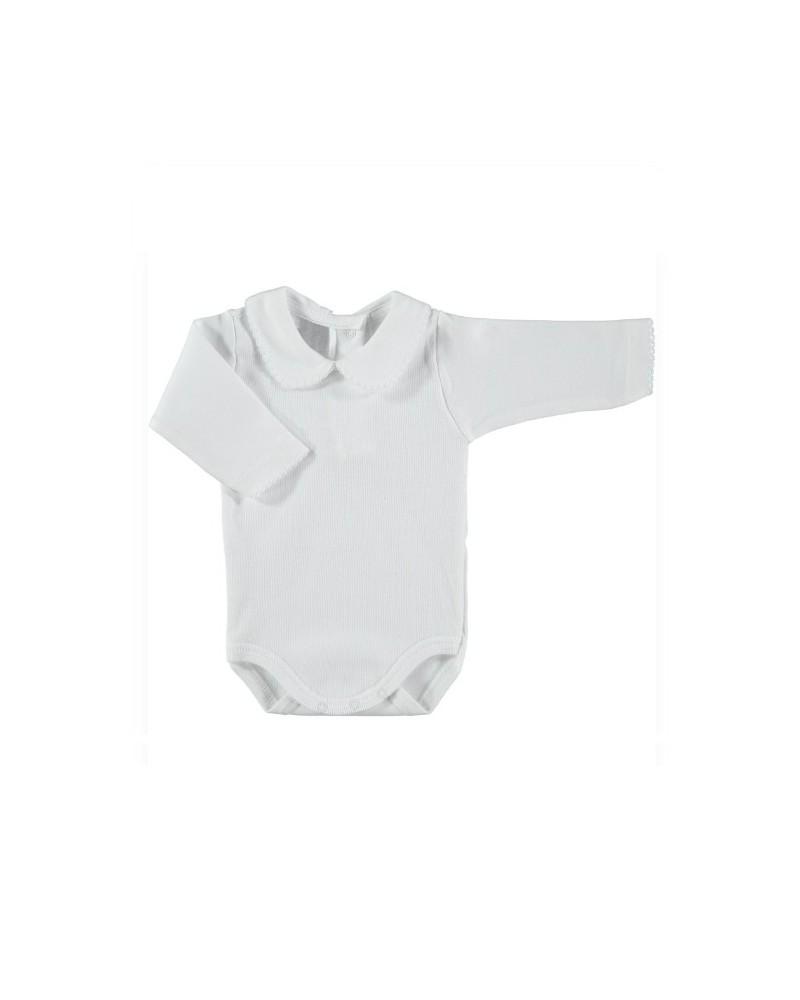 Body algodón blanco cuello bebé Babidu